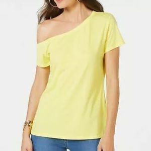 INC Sun Ray Yellow Off the Shoulder Cotton Tee L